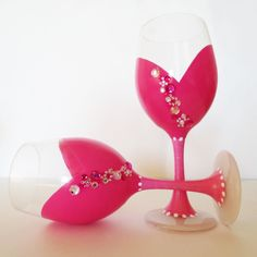 Pretty in pink - wine glasses - hand painted - rhinestones - valentines day. $44.00, via Etsy.