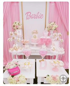 Barbie party ideas Love the tablecloth fabric . May Barbie party ideas Love the tablecloth fabricParty Table Decoration Ideas for little girls . May 3 Barbie Party Decorations, Barbie Theme Party, Barbie Birthday Party, Birthday Party Themes, Quinceanera Decorations, Birthday Ideas, 22nd Birthday Cakes, Birthday Gifts For Girls, 13th Birthday
