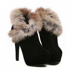 $17.23 Sexy Women's Ankle Boots With Imitation Fur and High Heel Design