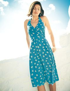 St Lucia Dress--This dress features a flattering crossover neckline with gathering at the empire line. -Boden