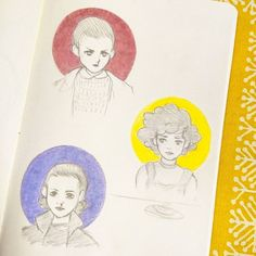 """Pauliina Lampi (@pauliina_lampi) on Instagram: """"Three sketches of our precious Eleven from Stranger Things. ☺❤ . . #strangerthings #eleven #011…"""""""