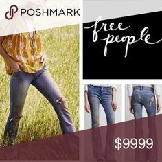 ♡SUPER UNIQUE FREE PEOPLE FLARE JEANS♡ AMAZINGLY UNIQUE!♡ purple/pink grunge wash, paint splatters and knee holes. GORGEOUS! Still with partial store tags, 100% brand new! Free PEOPLE tag is removed and inside size tag marked thru (as in pic) to prevent store return. Have stretch! 2 button & zip closure. About 11in bells! Just a beautiful unique pair of jeans! See pics plz for measurements. ♡ Free People Jeans Flare & Wide Leg