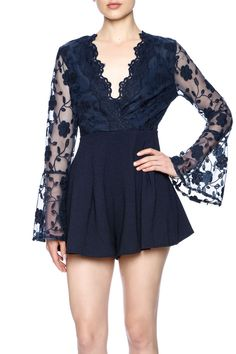 Sheer long bell sleeve romper with a deep V, high waisted bottoms, sheer back and a hidden zipper closure.   Uptown Romper by L'atiste. Clothing - Jumpsuits & Rompers - Rompers Colorado