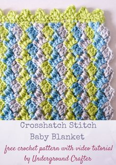 Free crochet pattern: Crosshatch Stitch Baby Blanket in Premier Yarns Everyday Baby with video tutorial by Underground Crafter | This simple stitch pattern creates a delightful chevron without complicated decreases. Carry the unworked yarn up the side whi