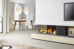 Find out all of the information about the DRU product: gas fireplace DRU METRO . Living Room With Fireplace, Contemporary Gas Fires, Face Home, Contemporary Fireplace, Home Office Design, Home Deco, Gas Fireplace, House Extension Design, Fireplace