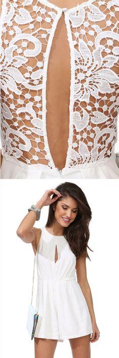 White Lace Open Back Romper