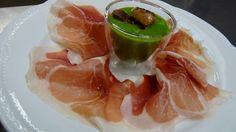 Green asparagus cappuccino with Culatello of Zibello & foie gras, gourmet recipe