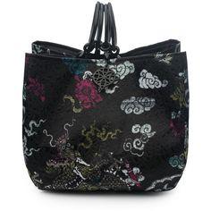 Josie Natori Dragon Jacquard Small Bag ($650) ❤ liked on Polyvore featuring bags, handbags, jacquard handbags and handle bag