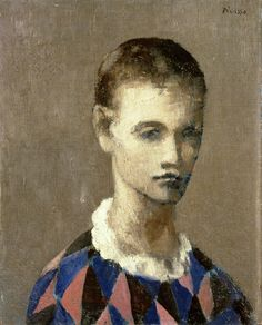 Pablo Picasso, Head of a Harlequin painting at Detroit Institute of Arts. Pablo Picasso, Kunst Picasso, Picasso Blue, Picasso Drawing, Picasso Art, Picasso Paintings, Paintings I Love, Picasso Guernica, Henri Rousseau