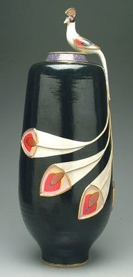 Art Deco Black Peacock Pottery Vase