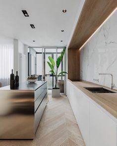 Nadire Atas on Sleek Modern Kitchen and Bathroom Marble Decor To Die For Minimal Interior Design Inspiration Farmhouse Style Kitchen, Modern Farmhouse Kitchens, New Kitchen, Kitchen Decor, Kitchen Ideas, Awesome Kitchen, Kitchen Bars, Galley Kitchens, Space Kitchen
