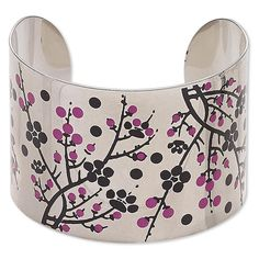 Wide (46mm) cuff bracelet is faux rhodium plated steel with a black and pink silk screened modern cherry blossoms design.