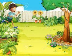 Illustration of a boy running at the backyard Illustration Cartoon garden Farm cartoon
