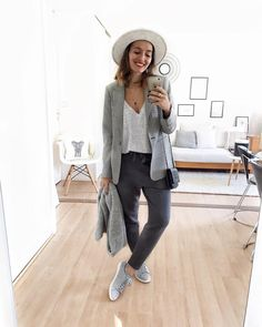 """2,532 Likes, 28 Comments - Lily (@lilylovesfashion) on Instagram: """"S p o r t y G r e y  #outfit #outfitoftheday #smile #smilepower #grey  Blazer #zara T-shirt…"""""""