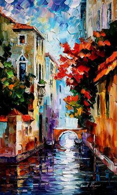 MORNING IN VENICE - PALETTE KNIFE Oil Painting On Canvas By Leonid Afremov http://afremov.com/HOUSE-WITH-FLOWERPOTS-PALETTE-KNIFE-Oil-Painting-On-Canvas-By-Leonid-Afremov-Size-15-x25.html?bid=1&partner=20921&utm_medium=/vpin&utm_campaign=v-ADD-YOUR&utm_source=s-vpin #OilPaintingOnCanvas