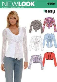 Womens Knit Bolero Jacket Sewing Pattern 6559 New Look 8-18