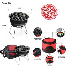 Portable Charcoal BBQ Grill Outdoor Cooking Camping Smoker Small Tabletop Patio #CharcoalBBQGrill
