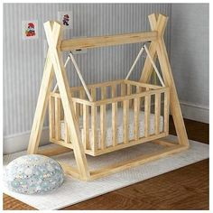 Do your babies have the best sleep? They will definitely have by using this DIY crib. Start and build one for your loved ones today. Baby Crib Diy, Baby Cribs, Diy Wooden Projects, Diy Kids Furniture, Home Building Design, Baby Bedroom, Baby Decor, Diy Home Decor, Woodworking Wood