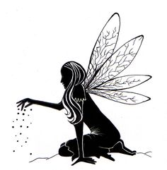 fairy silhouette images | This is a lovely Fairy silhouette measuring at 6cm x 6.5 . Great ...