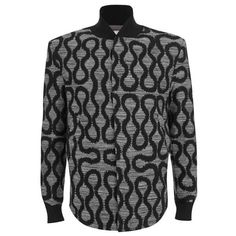 Vivienne Westwood MAN Men's Squiggle Spugna Shirt-Hem Bomber Jacket -... ($565) ❤ liked on Polyvore featuring men's fashion, men's clothing, men's outerwear, men's jackets and grey
