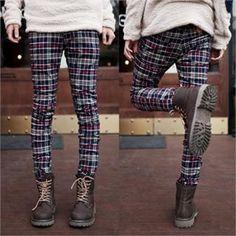ABOKI  Skinny Pants Korean Brands, Plaid Pants, Skinny Pants, Tomboy, Cute Guys, Asian Fashion, Well Dressed, Leg Warmers, Mens Fashion