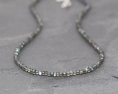 Labradorite Necklace in Sterling Silver or Gold Filled. Beaded Choker or Layering Necklace. Silver Bead Necklace, Beaded Choker, Gemstone Necklace, Beaded Jewelry, Labradorite Jewelry, Stylish Jewelry, Or Rose, Rose Gold, Silver Beads