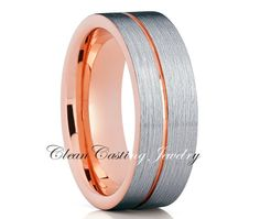 Brushed Tungsten Wedding Band 18k Rose Gold by CleanCastingJewelry