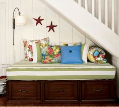 Daybed for the girls...bunk beds for the older two, daybed for when little sis joins the room
