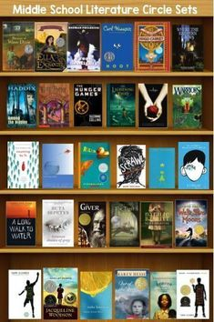 I know this doesn't match but I would look to save this a a reference. Book Sets for Middle School Literature Circles: -Book to Movie Book Set -First Book in a Series Book Set -Understanding Each Other Book Set -Coming of Age Book Set -Poetry Book Set Middle School Movie, Middle School Literature, Middle School Libraries, Middle School Reading, Middle School Classroom, Literature Circles, Children's Literature, Classroom Libraries, High School