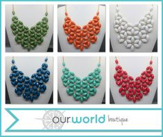 Keep the flowers blooming all year long with this beautiful bib necklace.   So Beautiful and so unique. Comes in several fun colors.