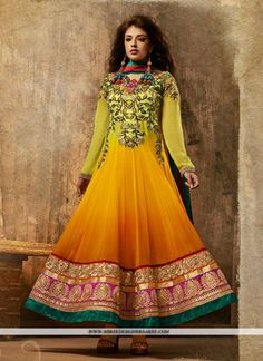 Selectable Green & Orange Georgette Designer Suit