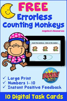 FREE- Counting Monkeys: Errorless Learning Digital Task Cards. This unique errorless set of digital task cards provides your students with a positive learning experience. The deck ensures that your student will always be correct when they click on a number #boomcards #boomlearning #angelicasresources #kindergarten #firstgrade #kinder #pre-k #preschool #1stgrade #digital #taskcards #distancelearning #errorlesslearning #counting #pajama #monkeys #specialeducation #sped #aba #errorless Interactive Learning, Fun Learning, Autism Resources, Teacher Resources, Transitional Kindergarten, Love Teacher, School Opening, Kindergarten Lesson Plans, Elementary Teacher