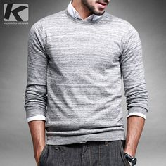 Free shipping man fashion thin o-neck pullover sweater 8855