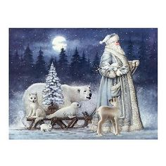 Christmas Santa Claus Bear Snow Scene 5D Diamond Painting Cross Stitch Craft