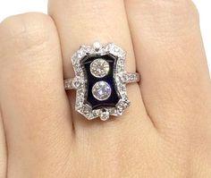 Striking 18k White Gold Onyx & Diamond Ring Art Deco by Appelblom