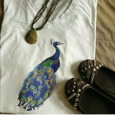 HPx2 Hand drawn peacock top 100% cotton v necks or tank tops. Thanks for stopping by! Upscale Market Tops
