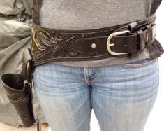 Vintage Hand Tooled Leather Buscadero Gun Belt and Holster 22