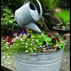 Love old tin cans, buckets, pitchers, tubs. This is a cool idea!