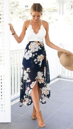 Floral Print Chiffon Dress Lace V Neck High Low Beach Summer Casual Maxi Dress