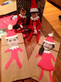 Elf on the Shelf. sorry, the elves made, my kids into paper bag puppets. Christmas Holidays, Christmas Crafts, Xmas, Elf On The Self, Elf Clothes, Naughty Elf, Elf Costume, Santa's Little Helper, Buddy The Elf