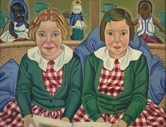 The blonde girl in this picture, Fay Birkinshaw, later became the novelist Fay Weldon. She recalled posing with her sister: 'We were put in our matching check dresses and told to sit still.' Rita Angus gave the portrait to the girls' parents, but. New Zealand Art, Nz Art, Kiwiana, Digital Museum, Collaborative Art, Artist Painting, Art Paintings, Female Art, Girl Pictures