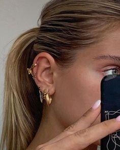 Skull Jewelry, Ear Jewelry, Hippie Jewelry, Dainty Jewelry, Cute Jewelry, Gold Jewelry, Jewelry Accessories, Gold Earrings, Jewellery Earrings