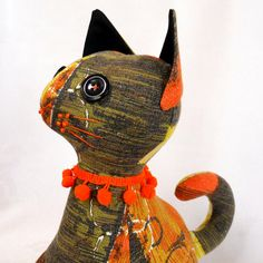 Vintage Fabric Retro Cat crafted from 60s barkcloth  by audreyscat, £25.00
