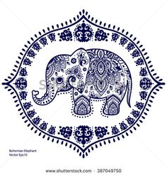 Vintage graphic vector Indian lotus ethnic elephant seamless pattern. African tribal ornament. Can be used for a coloring book, textile, prints, phone case, greeting card, business card