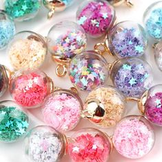 Buy clear ornaments & use confetti/glitter Unicorn Ornaments, Glitter Ornaments, Clear Ornaments, Bottle Charms, Resin Charms, Glitter Bomb, Green Glitter, Beading Supplies, Jewelry Supplies