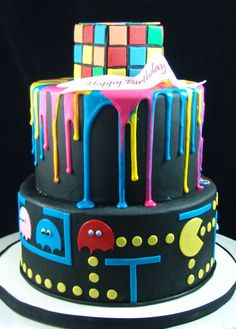 If you are shopping online in Queens, NY, for custom birthday cakes- you've come to the right place. 19th Birthday Cakes, Custom Birthday Cakes, Themed Birthday Cakes, Themed Cakes, 80s Birthday Parties, Neon Birthday, 40th Birthday, Birthday Ideas, 1980s Cake