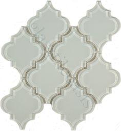 Pacific Tile Company Bathroom, Unique Shapes, Ornamental, Glossy, White, #Glass_tiles
