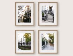 Savannah Georgia Watercolor Paintings Set of 4 Art Prints, Historic District Watercolors