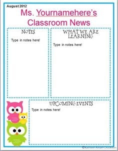 Owl Classroom Ideas | Classroom Ideas. Good headings to include on virtual classroom... Like the idea of having different kids each month summarize various activities we did