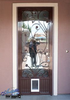 Wrought Iron Wrought Iron Security Door with Glass and doggy door Model: SD